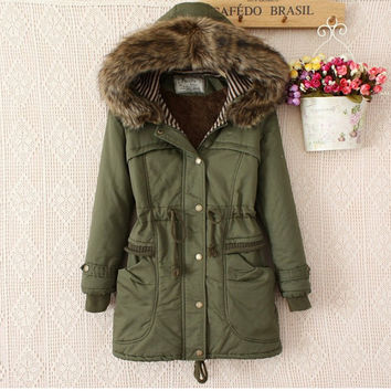 Korean Women's Fashion Winter Hats Shaped Plus Size Training Cotton Padded Coat [9344408068]