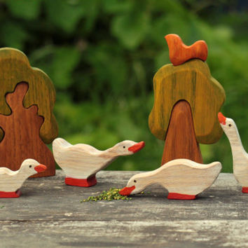 Toys set Gaggle of geese (4pcs) Learning toy Farm toys Wooden toy Miniature animal figurines Handmade Toddler toy Waldorf