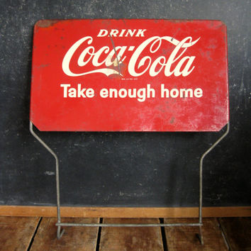 "Vintage Coca Cola Sign from 1950s, Coke Bottle Rack Sign ""Take Enough Home"", Double Sided Antique Coca-Cola Sign"
