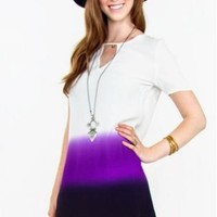 White Short Sleeve T-Shirt Dress with Purple Ombre Dip Dye