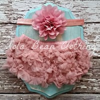 READY TO SHIP Baby Girl Bloomers Chiffon Ruffle Diaper Cover Dusty Rose Flower Headband Set Photography Prop 6 9 12 18 months Cake Smash