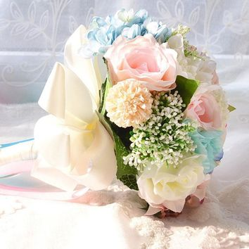 Romantic Bride Bouquet Flower Vintage Blue Wedding Bouquet Peony Wedding Artificial bridal bouquets decoration 3