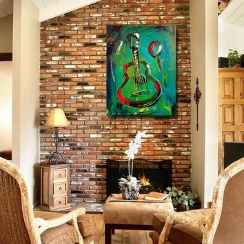 The Abstract Guitar Wall Art on Canvas