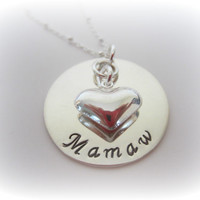 Mamaw Necklace-Grandmother Necklace-Nana Necklace with Heart Charm-Granny Jewelry-Sterling Silver Personalized Necklace