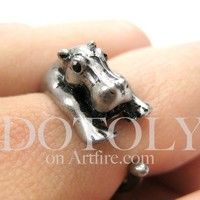 Miniature Baby Hippo Animal Hug Ring in Silver - Sizes 4 to 9 available by Dotoly
