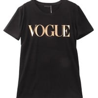 Shiny Gold Vouge Printed Women Tshirt