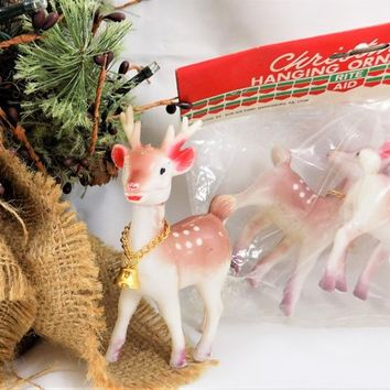 Plastic Deer Ornaments with Bell, Vintage Christmas Decor, Set of 4 Deer