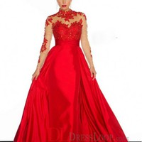 A Line High Neck Long Sleeve Taffeta Prom Dress/Party Dresses With Lace VTBK171