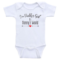 "Baby Girl Onesuits ""I'm Daddy's Girl and Mommy's World"" Cute Baby Girl Clothes"