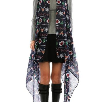 Navy Blue Christmas Print Sheer Coverup Poncho