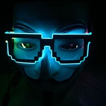 1pc/Lot Factory Sell 8 Bit Pixel Light Up El Wire Led Flashing Glasses  EDM EDC Rave Party Bar Eyeswear Accessory Sunglasses
