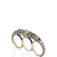 Yellow Gold Three Finger Ring With Brown, Black and White Diamonds