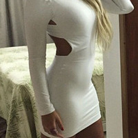 White Long Sleeve Back Cutout Mini Bodycon Dress