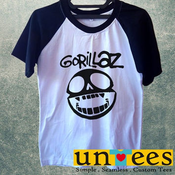 Men's Short Sleeve Raglan Baseball T-shirt - Gorillaz Logo design