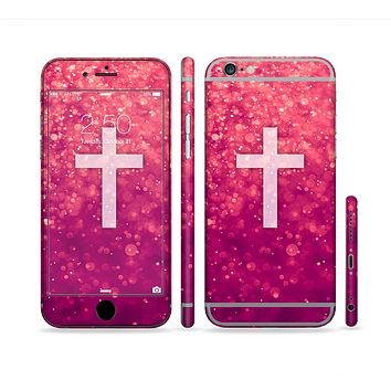 The Vector White Cross v2 over Unfocused Pink Glimmer Sectioned Skin Series for the Apple iPhone 6