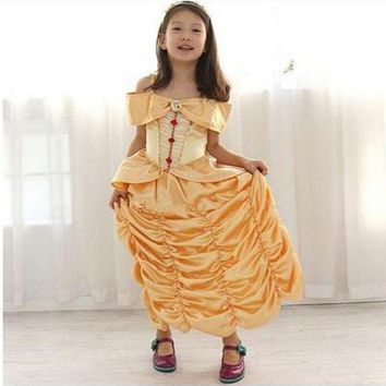 CREY6F kid child Girl 110-160cm Princess belle Halloween Costumes  birthday gift Beauty and the Beast  Costume Suit Fancy Dress Cosplay
