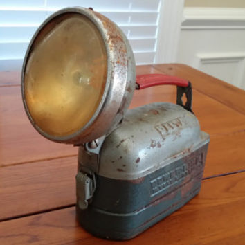 Vintage Delta Power King 12 Volt Metal Rusty Lantern Flashlight Great Retro Rustic Decor Fathers Day Best Man Groomsman Guy Gift Prop