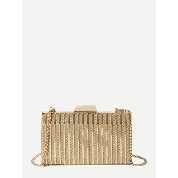Metallic Clutch Bag With Chain Gold