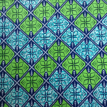 Green and Blue tiles African fabric, Wax print, Green African print, African material, African fabric, 100% cotton