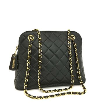 CHANEL Quilted Matelasse CC Logo Lambskin Chain Shoulder Bag Black / qAFE x