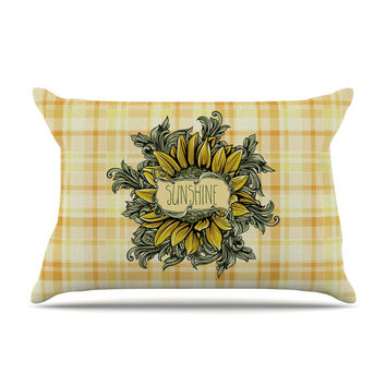 "Nick Atkinson ""Sunflower Sunshine"" Yellow Gold Pillow Case"