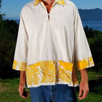 Vintage 60s Bohemian Hippie Tunic Mens Hawaiian Shirt Size Large XL White and Yellow Linen Cotton Psychedelic Paisley Block Print 70s Boho