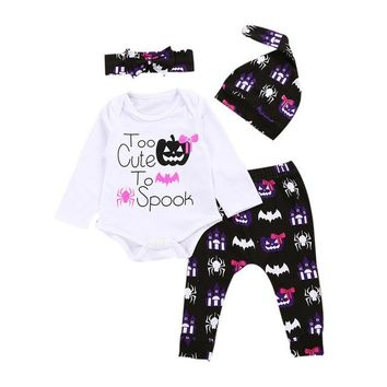 "Baby Girl Halloween ""Too Cute to Spook"" Bodysuit, Hat, Headband & Pant Set"