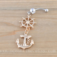 Anchor Belly Button Rings,rudder Navel Jewlery,bling anchor belly button ring, navy ring,nautical jewelry,friendship gift