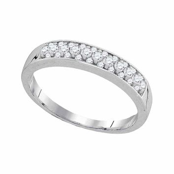 10kt White Gold Womens Round Pave-set Diamond Single Row Wedding Band 1/4 Cttw