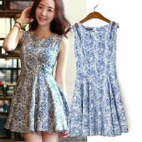 Blue and White Printed Sleeveless A-Line Pleated Mini Dress