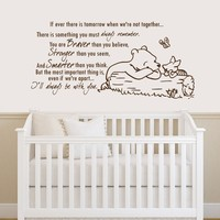 Winnie the Pooh Quote Wall Decal Vinyl Sticker Decals Quotes Braver Stronger Smarter Wall Decor Nursery Baby Room Art Kids Playroom x216