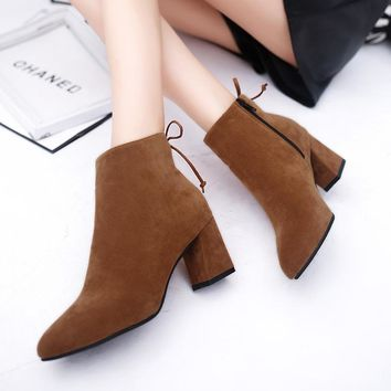 2017 34-40 Autumn Winter Women Boots Casual Ladies Shoes Martin Boots Suede Leather An