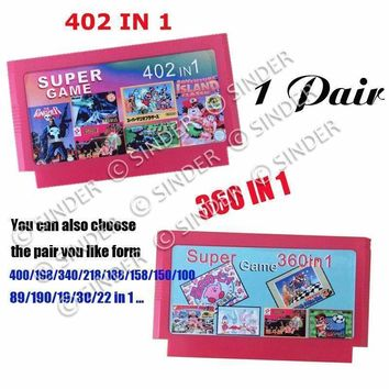 Hot Sale 2 Pieces Game Collection 402 in 1 Game Cartridge + 360 in 1 Big Yellow Game Card For 8 Bit Dandy Game Player