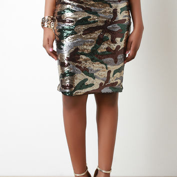 Sequin Camouflage Pencil Skirt