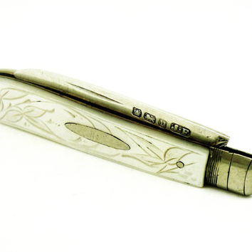 Silver Folding Fruit Knife, Mother of Pearl, Sterling, English, Antique, Edwardian, Hallmarked 1906, REF:245Q