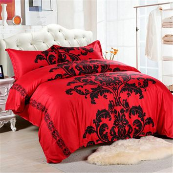 Sadi Red Bedding Set Double/Queen Size Feathers Duvet Cover White Bed Set Beautiful Bedclothes 3pcs
