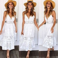 Solid Color Sling Lace Backless Dress