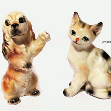 Vintage Porcelain Dog and Cat Figurines by JAPAN