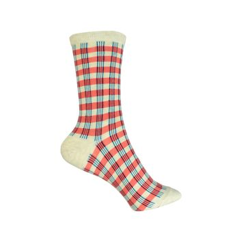 Gingham Crew Socks in Orange