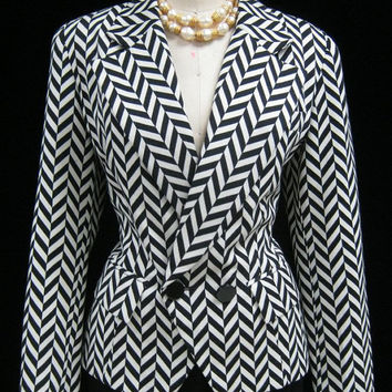 Vintage 90s EMANUEL UNGARO Chevron JACKET Tailored Fitted Nipped Waist 10/44