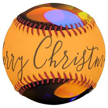 Multicolored Christmas lights. Add text or name. Softball