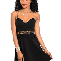Spaghetti Strap Sun Dress W/ Crochet Waist Panel