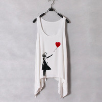 Banksy Heart Ballon  Women Tank Top  White  Sides by zzzAfternoon