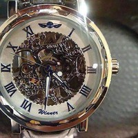 ON SALE - Blue Classic Skeleton Hand Wind Mechanical Watch Black Leather Strap For Men