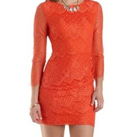 Open Back Long Sleeve Lace Dress by Charlotte Russe