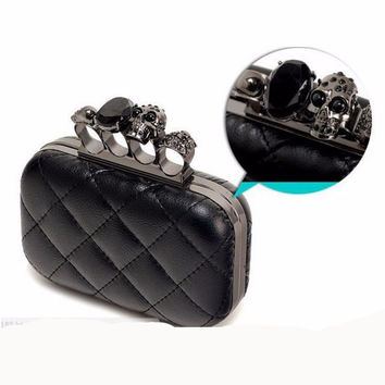 Black Skull Knuckle Rings Handbag Clutch Evening Bag With shoulder Chain