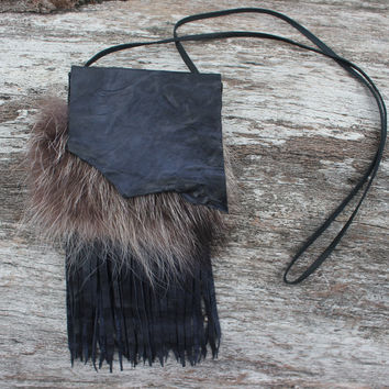 Racoon Spirit Medicine Bag, Rustic Distressed Blue Goat Leather, Raccoon Fur, Shamanic Necklace Pouch