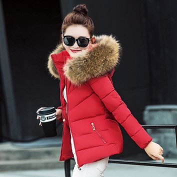 Sexy warm winter with thick cotton-padded jacket high quality Red