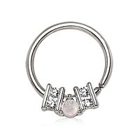 316L Stainless Steel Ornate Multi-Jeweled Seamless Ring / Septum Ring