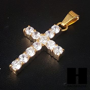 Iced Out 316L Stainless steel Gold 2Pac Cross Pendant Miami Cuban SS037